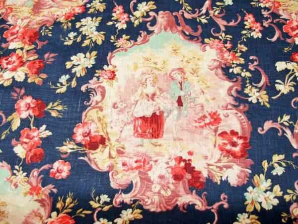 Toile de Jouy francese in puro lino, altezza cm. 140