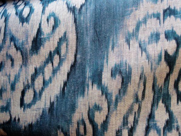 tessuto lino bianco blu per arredamento