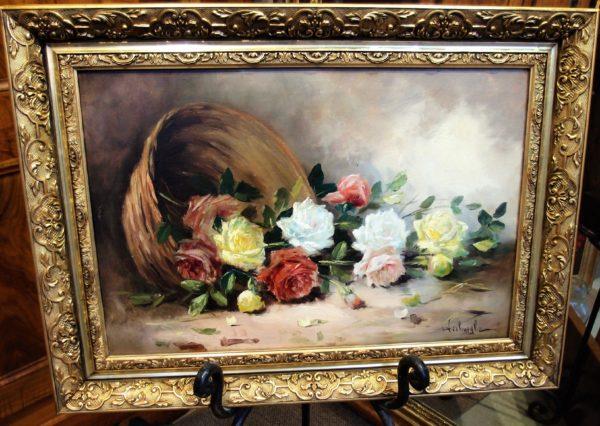 Dipinto ad olio con cesto di rose