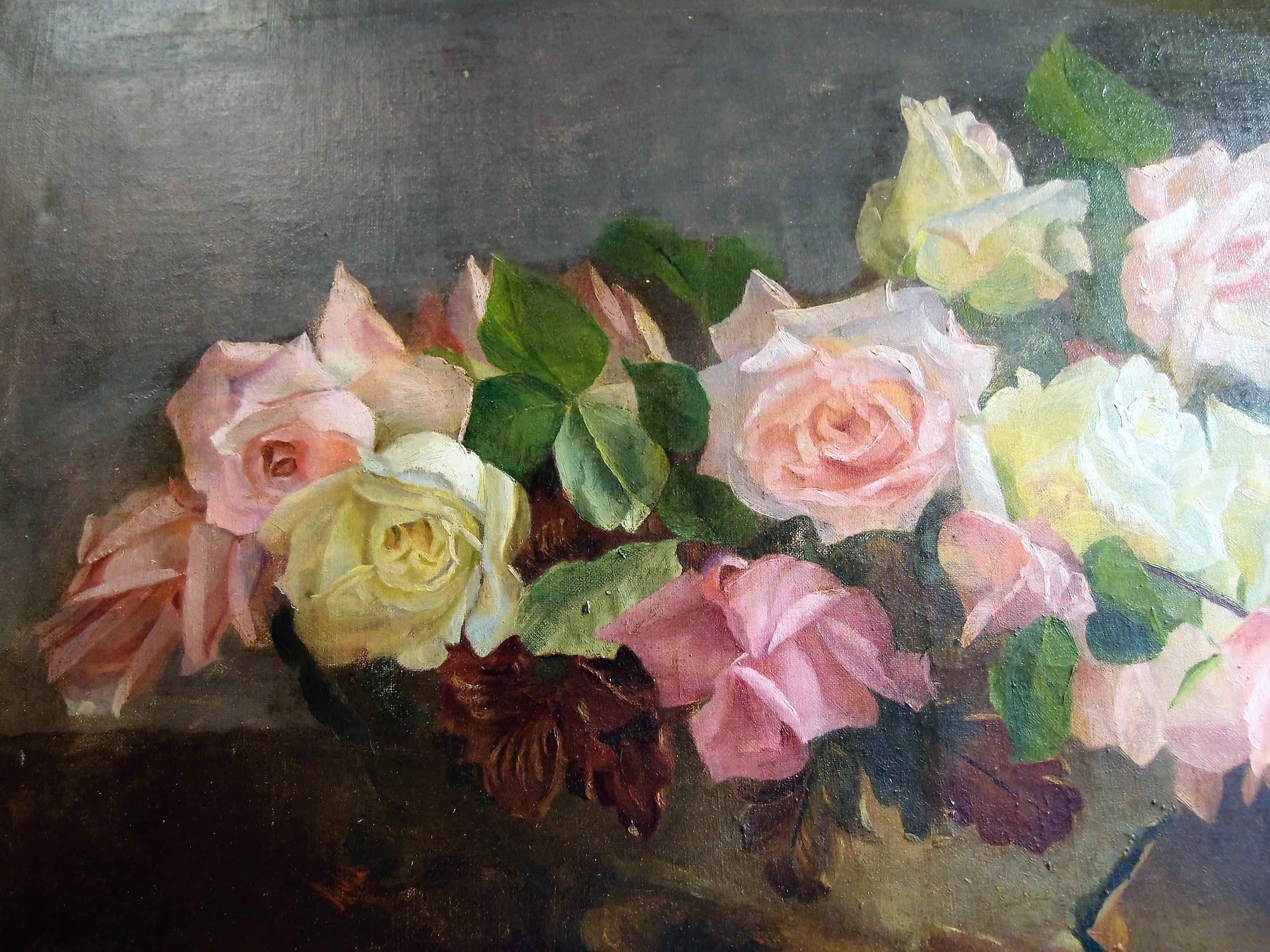 Dipinti antichi con peonie e rose protagoniste non per for Quadri ad olio con fiori