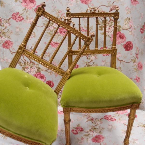 coppia sedie antiche dorate francesi