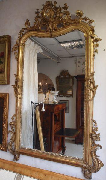 specchiera antica in foglia oro