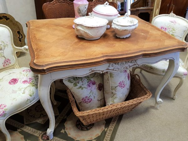 tavolo antico apribile shabby francese in rovere