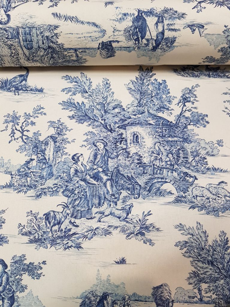 TOILE DE JOUY bianco blu, toile de jouy rimini , tessuti d'arredo rimini