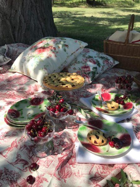 toile de jouy, tessuti con rose, barbotine, antichita bellini rimini