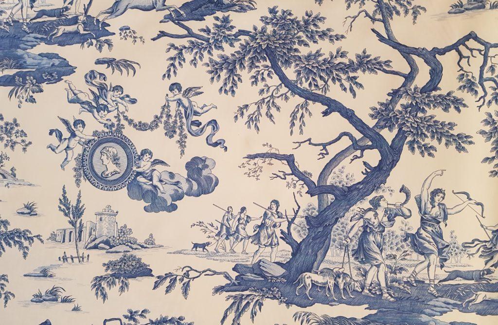 upholstery fabric toile de jouy , cotton 100%, popeline